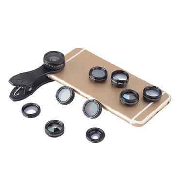 Apexel APL-DG10 10 in 1 Fisheye Wide Angle Macro Lens CPL Filter Kaleidoscope 2X Telescope Lens Set