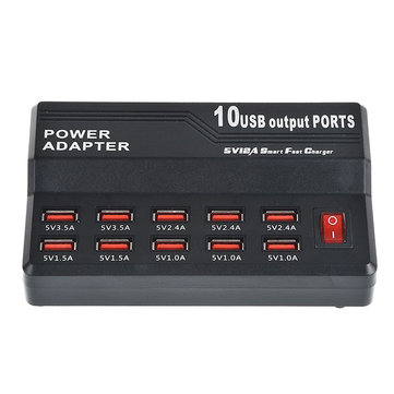 60W 10 Ports Family Size Desktop Smart Ports Rapid Charging Station USB Charger with Auto Detective Technology