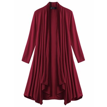 Vintage Women Knit Pocket Irregualr Long Cardigans
