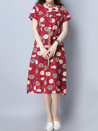 Women Vintage Floral Print Dresses Short Sleeve Midi Dress