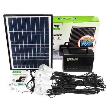 YOBOLIFE 18W Solar Panel Portable Solar Powered System Power Generator with 4 LED Light