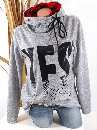 Casual Women Print Long Sleeve Hooded Sweatshirt