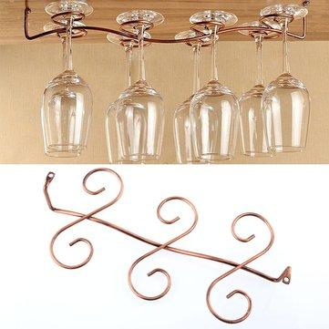 6 Wine Glass Rack Stemware Hanging Under Cabinet Holder Hanger Shelf Kitchen Drinks Holder Copper Color