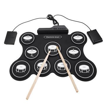 iword G4009 9 Pads Batterie Electronique Portable Roll Up Drum Kit USB MIDI Drum avec baguettes de pédales Pédale pour débutants
