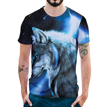 Cool Creative Starry Wolf 3D Printed T-Shirts