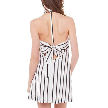 Bow Sexy Stripe Backless Halter Chiffon Women Mini A-Line Dress
