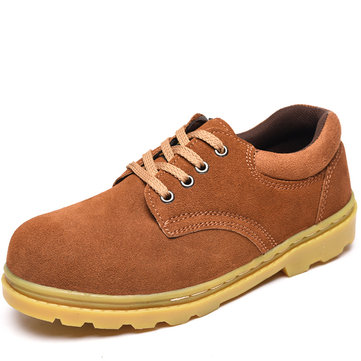 Men Breathable Suede Leather Sneakers Anti Collision Toe Outdoor Working Shoes
