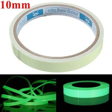 Self Adhesive Green Luminous Tape Waterproof Photoluminescent Tape 10mm Wide Glow In The Dark Stage Home Decor