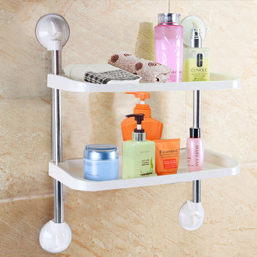 Double-layer Bathroom Storage Hanger Rack Kitchen Strong Chuck Suction Cup Commodity Shelf Holder