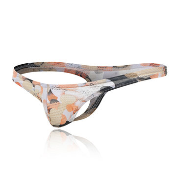 Mens Sexy Low Rise Printing U Convex Pouch Strip Thong