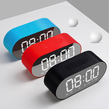 3W 4 Ohm Alarm Clock FM Radio Wireless Bluetooth Speaker Aux TF USB Music Mirror Display