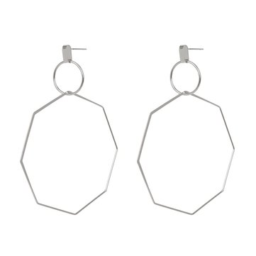Fashion Big Earring Hollow Octagon Geometric Statement Hoop Accessories Ethinc Jewelry for Women