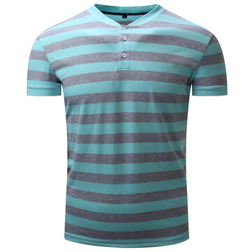 Summer Casual Men's Contrast Color Striped POLO Shirts Stand Collar Soft Cotton T-shirt