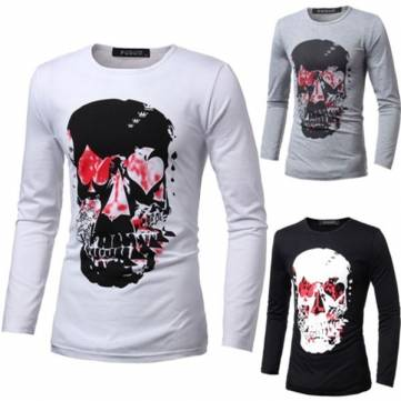 Fashion Demon Skull Printing T-shirt Men Cotton Casual Round Neck Long-sleeve T-shirt