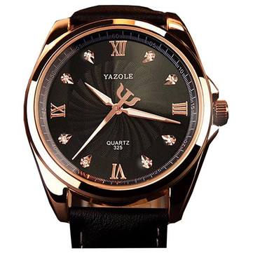 YAZOLE 325 Fashion Crystal Bling Business Men Wrist Watch Leather Analog Male Quartz Watch