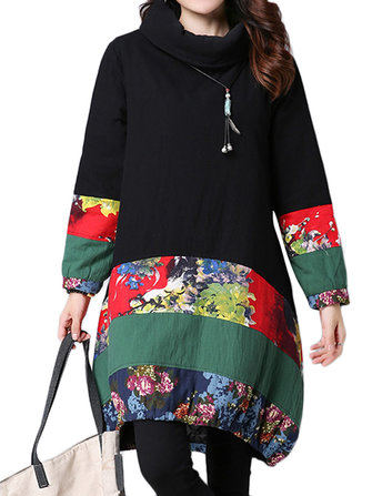Vintage Patchwork Stripe Printing Long Sleeve Turtle Neck Loose Dress