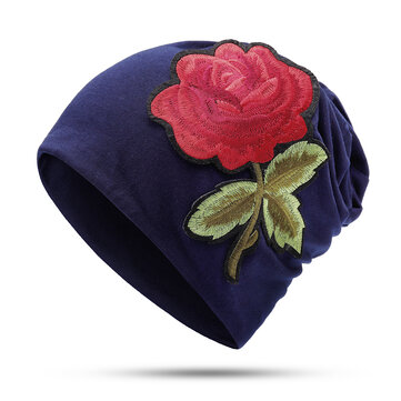 Women Floral Ethnic Embroidery Beanie Hat Outdoor Vintage Slouch Cotton Skullcap Chemo Caps