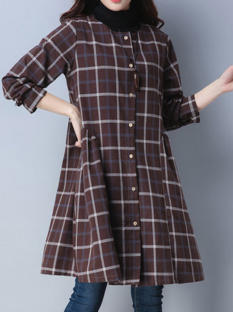 Vintage Long Sleeve Button Plaid Shirt Dress