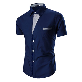 Men Elegant Fashion Personality Slim Fit Lapel Short Sleeve Shirts