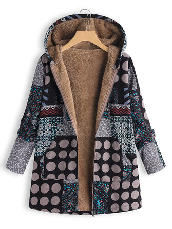 Polka Dot Fluffy Fleece Thick Floral Print Vintage Coat