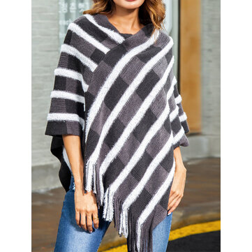 Women Striped Shawl Cloak Irregular Sweaters with Tassel