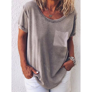 Risultati immagini per Pure-Color-O-neck-Short-Sleeve-Casual-T-shirts-p-1448291