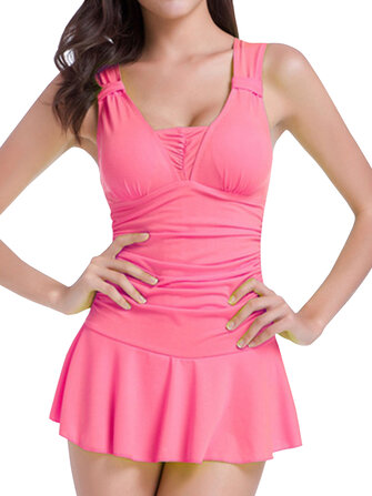 Conservative Push Up Sleeveless Cute Ruffle Wireless One Piece Bathing Suits Swimwear