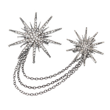 Trendy Punk Tassel Chain Brooch Double Snowflake Rhinestone Pins Accessoires