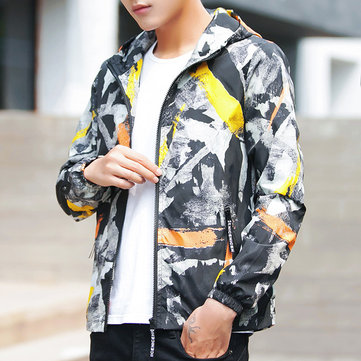 Mens Camo Printed Casual Sport Hooded Jacket