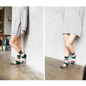 Women Girls Rainbow Candy Color Cotton Socks Stripes Stretchy Casual Ankle Long Socks Randomly