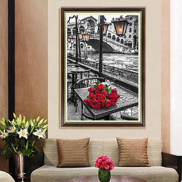 40x60cm 5D DIY Red Rose Diamond Painting Resin Full Rhinestone Home Decoration Cross Stitch Kit