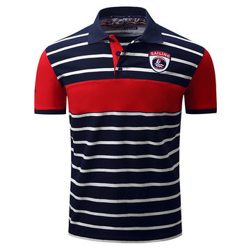 Spring Summer Men's Turn-down Collar POLO Shirt Casual Business Striped T-shirt