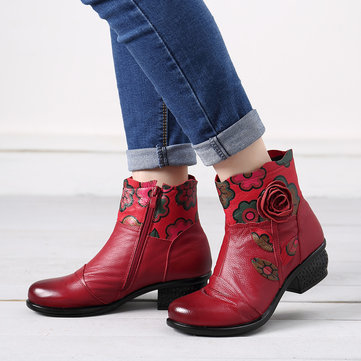 Genuine Leather Flowers Pattern Lining Casual Ankle Boots