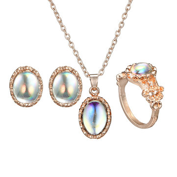 Vintage Colorful Artifical Gem Geometric Pendant Necklace Earrings Rings For Women Jewelry Set