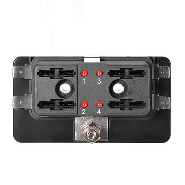 DC12V/24V/32V 4Way Car Boat Automotive Blade Fuse Box Block Holder LED Warning