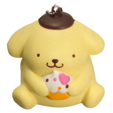 9cm Squishy Yellow Dog Cute Slow Rising Bag Hanging Drop Animal Collection Gift Decor Toy