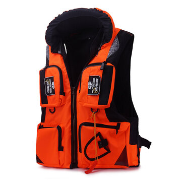 Mens Multi Pockets Sea Fishing Clothes Floating Objects Removable Life Jacket Vest