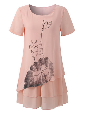 Elegant Women Short Sleeve Printing Layered Hem O-Neck Blouses