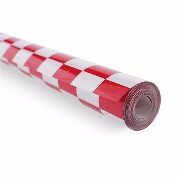 5m piel termocontraíble a cuadros rojo y blanco que cubre la película para el aeroplano del rc