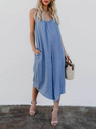 Plus Size Casual Straps Blue Wide Leg Overall Jumpsuit