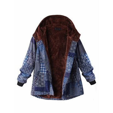 O-NEWE L-5XL Casual Women Block Print Hooded Fleece Thicken Coat