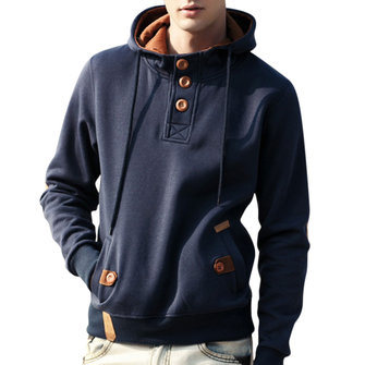 Men's Vintage 100% Cotton Buttons Design Casual Hoodies