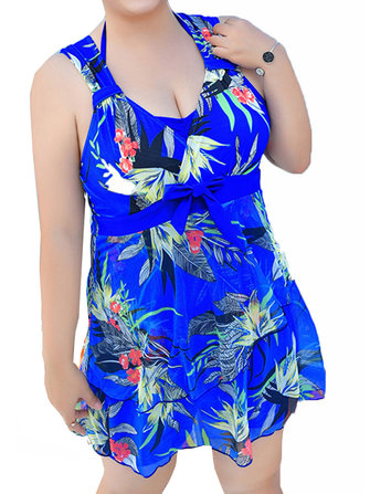 Plus Size Bow Sleeveless Floral Printed Wireless Bathing V Shape Back Swimdresses