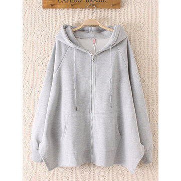 Women Plus Velvet Thick Loose Cardigan Sweatshirt
