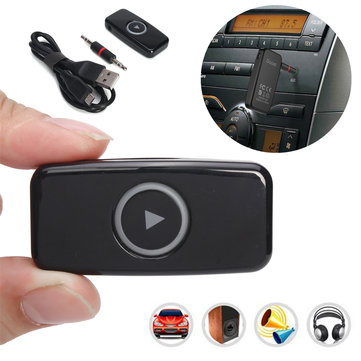 DSER102 Car Wireless Bluetooth 4.0 Stereo Music Audio Receiver 3.5mm Adapter Speaker AUX