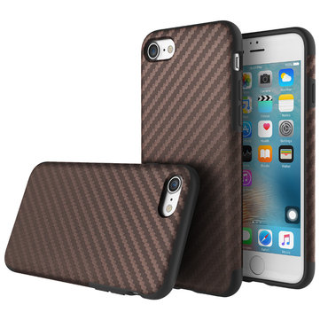 ROCK Carbon Fiber Series TPU PU Phone Case Protective Back Cover Skin Shell For iPhone 7 Plus