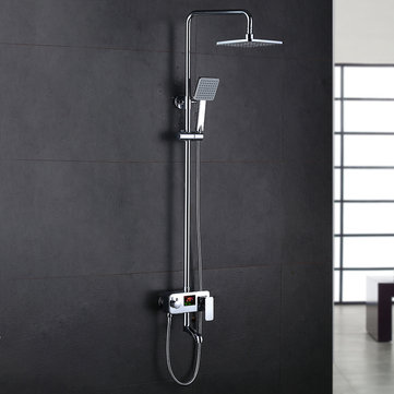KCASA KC-S01 Bathroom Rain Shower Mixer Set with LED Centigrade Temperature Display Luxury Rain Shower System with Rainfall Showerhead Handheld Shower