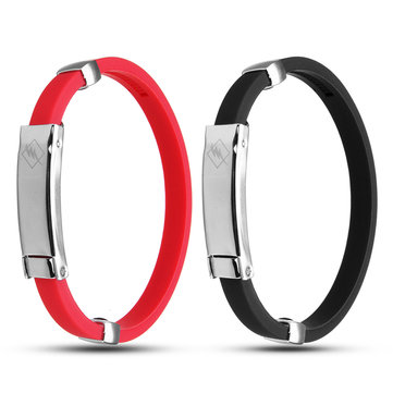 Portable Anti Static Titanium Ionic Magnetic Wristband Silicone Bracelet Balance Band Black/Red