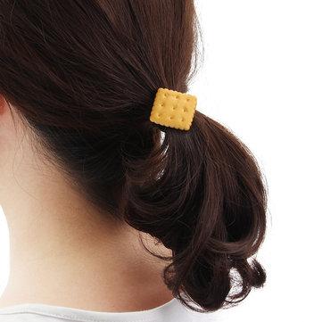 Cute Simulated Biscuit Hair Ring Band Star Heart Circulaire Géométrique Bijoux pour enfants