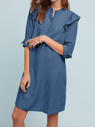 Women Elegant Crew Neck Ruffles Long Sleeve Dress